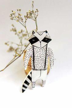 FREE SHIPPING Cute raccoon Raccoon brooch pin by Dinabijushop
