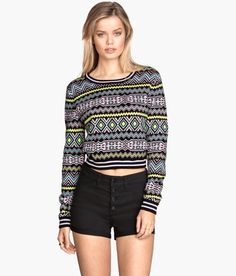Check this out! Short, jacquard-knit sweater in cotton with long sleeves. - Visit hm.com to see more.