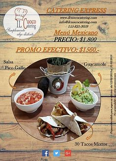 Il cuoco catering ofertas Guacamole, Catering, Tacos, Ethnic Recipes, Food, Catering Business, Gastronomia, Meals, Yemek