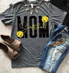 Softball Mom Triblend T-Shirt / Softball Shirt / Sports Shirt / Summer Shirt / Ball Shirt / Softball Volleyball Shirts, Volleyball Shirt Designs, Sports Mom Shirts, Softball Shirt Ideas, Girls Softball, Softball Clothes, Basketball Shirts For Moms, Cheer Mom Shirts, Softball Crafts