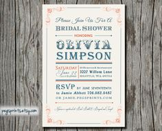 Rustic Bridal Shower Invitation  Typography Poster by pegsprints, $12.00