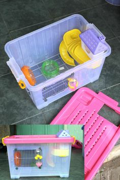 This hamster DIY cage actually looks really good, with no duck tape or anything like that. I would like to do this someday.