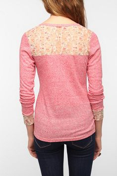 Pins and Needles Lace Inset Henley Thermal  #UrbanOutfitters
