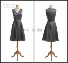 Wholesale CUSTOM MADE V-neck Tea-length Mother Of The Bride Dress Silver Plus Size Homecoming Dress 2012, Free shipping, $69.44-82.88/Piece | DHgate