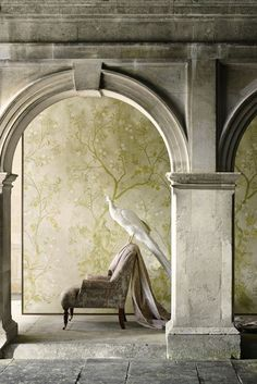 Inspired by the grand country houses of Britain, the new Zoffany Kempshott wallpaper collection captures their faded elegance to create a collection of sophisticated, luxury wallcoverings for unique homes. Scenic Wallpaper, Wallpaper Panels, Zoffany Wallpaper, Bird Barn, Barn Owls, Chinese Wallpaper, Stunning Wallpapers, Exotic Birds, Colorful Birds
