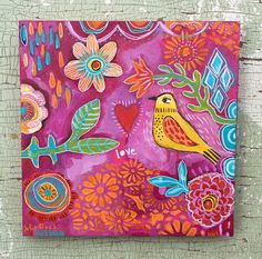 Small contemporary folk art bird painting