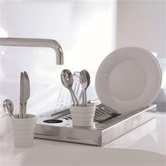 Free Standing Solution: DHO Aqua Plate Rack With Built-in Glass Drainer, Stainless Steel | ACHICA by DaisyCombridge