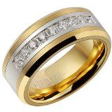 FCL 18K Gold Plating Ring for Men Exquisite cubic zirconia Inlay Tungsten Carbide Band