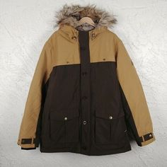 Brown and mustard water resistant outer. Down Parka, Parka Coat, Fur Coat, Fur Jacket, Fur Trim, Winter Coat, Canada Goose Jackets, Outdoor Gear, Mustard