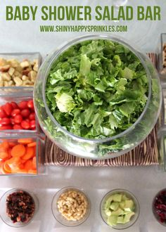 "salad bar lunch- if I actually pull off a ""Favorite Things"" party with the girls this fall!...bring your favorite salad topper! I also love the use of the punch bowl as a big salad bowl. We have the same one."