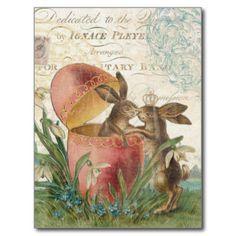 vintage français de cartes postales de pâques | Carte pour notes vintage de lapins de Pâques Cartes Postales