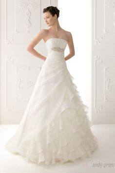 Ruffles Cathedral Train A-line Empire Wedding Dress