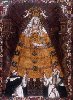 Escuela cusqueña. Virgen del Rosario con dos santos, c. 1750 Óleo sobre lienzo, 214 x 151 cm