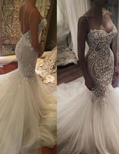 Delicate Sweetheart Backless Mermaid Wedding Dress with Spaghetti Straps Court Train