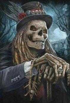 He waits at night, Baron Samedi Arte Horror, Horror Art, Grim Reaper Art, Totenkopf Tattoos, Reaper Tattoo, Skull Pictures, Skull Artwork, Skeleton Art, Skull Wallpaper
