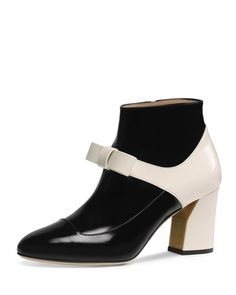 S0EQQ Gucci Nimue Mary Jane Ankle Boot, Black