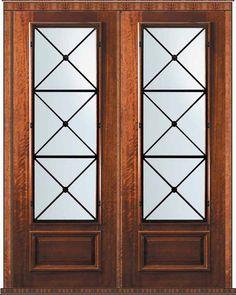 Prehung Double Door 96 Wood Mahogany Republic 3/4 Lite Wrought Iron