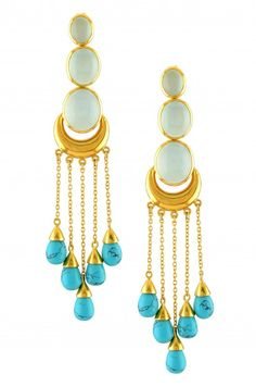 Silver Gold Plated Chalcedony Turquoise Earrings