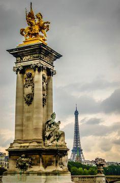 Paris France - Pont Alexandre and Eiffel Tower