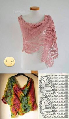 Crochet scarf pattern i couldn t find the pattern for thi – artofitPretty lace shawl and pattern - Salvabrani Poncho Crochet, Crochet Shawls And Wraps, Crochet Scarves, Crochet Clothes, Crochet Stitches, Crochet Dresses, Free Crochet, Shawl Patterns, Crochet Patterns