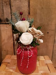 Christmas mason jar with wood flowers, greenery, cinnamon stick.  Perfect for the holidays, table, mantle.  Shabby chic, rustic, farmhouse.