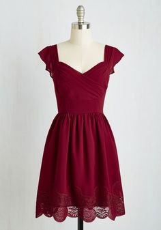 Let's Reminisce Dress in Cranberry - Red, Solid, Lace, Party, A-line, Short Sleeves, Woven, Better, Variation, Mid-length