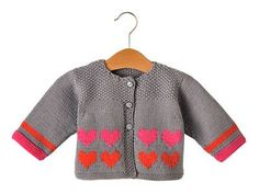 Tricot: Gilet atout cœur Knit: Cardigan trump card - Tricot - All the details of realization July 11 Baby Knitting Patterns, Baby Sweater Knitting Pattern, Baby Girl Patterns, Baby Boy Knitting, Knitting For Kids, Sweater Patterns, Knitting Ideas, Free Knitting, Crochet Patterns