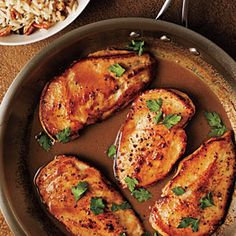 Cider-Glazed Chicken with Browned Butter-Pecan Rice | CookingLight.com