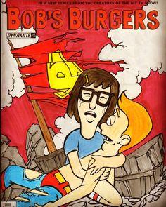 Bob's burgers death of Superman homage sketch cover #bobsburgers #tina #jimmyjr #sketchcover #sketch #art #comics #chrisforeman #chrisforemanart #dynamite
