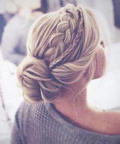 The most perfect braided updo twisted into an elegant low bun. This hairstyle is… The most perfect braided updo twisted into an elegant low bun. This hairstyle is…,Braids The most perfect braided updo twisted. Braided Hairstyles For Wedding, Pretty Hairstyles, Updo For Long Hair, Updo Hairstyles For Prom, Chic Hairstyles, Medium Hair Updo, Loose Braid Hairstyles, Curly Hair, Up Dos For Medium Hair