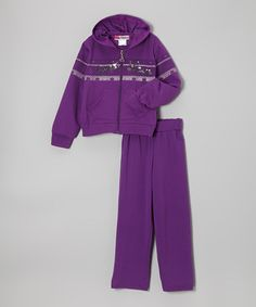 Take a look at this Purple 'Sweet Love' Zip-Up Hoodie & Pants - Toddler & Girls by Coney Island Kids on #zulily today!