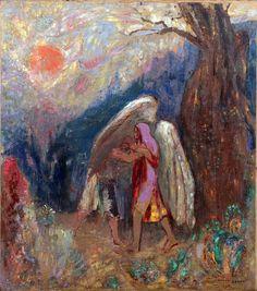 Odilon Redon, Jacob Wrestling with the Angel (c. 1905), oil on board, 41.3 x 47cm. Via artmeteo.com