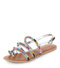 Wide Fit Silver Leather Strappy Embellished Sandals