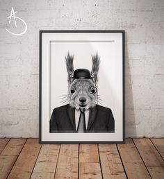 SQUIRREL IN SUIT Art Print, Squirrel Printables, Printable Art, Squirrel , Animals in suits, Black and White Art,  Squirrel in Suit Prints by AmberstoneDesign on Etsy Stock Photo Websites, Black And White Printer, Nursery Letters, Photo Store, Typography Art, Minimalist Art, White Art, As You Like, Printable Wall Art