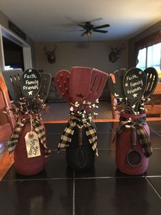 Mason jar with pip berry and wooden spoons. Can customized to any color. And also customize tag #Primitivedecor