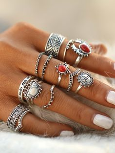 Red And White Turquoise Stone Vintage Rings Set -SheIn(Sheinside)