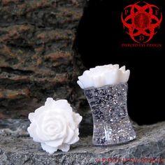 0g White Rose Flower Glitter Plugs Gauged Ears by PiercedEyeDesign, $17.99
