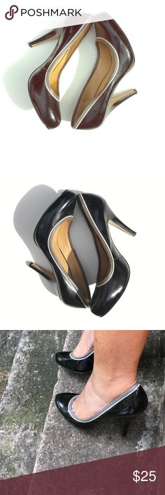 Nine West Black Pumps with Grey & White Detail These are the perfect everyday pump. Black pumps size 8. 3 inch heels Minor Scuffs ( please see pictures ) Nine West Shoes Heels