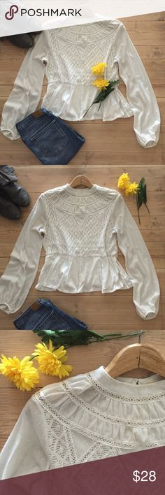 🆕 | Free People Top 🌼 Beautiful romantic cream long sleeve top.  Features lace accents and bell mesh sleeves.  Minor repair at side seam and very slight discoloration under arms.  Otherwise in great, gently used condition. Free People Tops