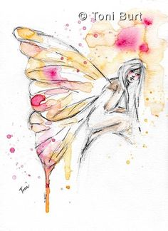 """""""beguiled"""" watercolour faery from my art journal, fairy wings, butterfly art, watercolor"""