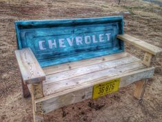Teal Chevy Tailgate bench by TealDeathDoUsPart on Etsy
