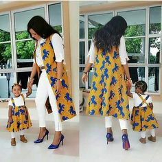 Beautiful Mother and Daughter Ankara Style . Beautiful Mother and Daughter Ankara Style African Attire, African Wear, African Fashion Dresses, African Women, African Dress, African Kids, African Outfits, Ankara Fashion, Mother Daughter Matching Outfits