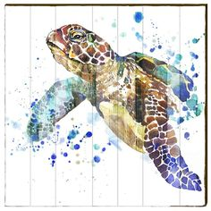 Sea Turtle Watercolor Wood Art Panel | Large | Wall Decor | Art