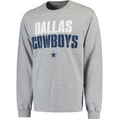 Men s Dallas Cowboys Gray Stencil Stack Long Sleeve T-Shirt Dallas Cowboys  Gear a4f6845ef