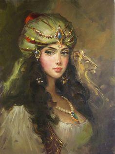 Somehow I totally missed out on the fabulous art of Remzi Taskiran of Turkey. Portrait Photos, Portraits, Santa Sara, Image Blog, Turkish Art, Arabian Nights, Woman Painting, Beautiful Paintings, Art Education