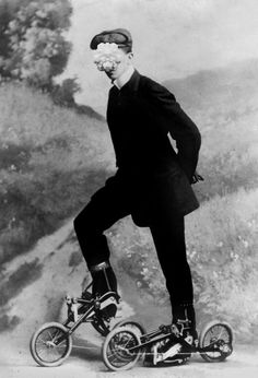 young man on pedaled rollerskates: 1910 not sure where to put this history is beautiful, or steampunk dang it Vintage Pictures, Old Pictures, Old Photos, Pimp Your Bike, Interesting History, Interesting Stuff, Roller Skating, Roller Derby, Vintage Photographs