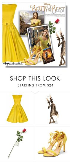 """""""Disney's 'Beauty and the Beast'"""" by aidasusisilva ❤ liked on Polyvore featuring WithChic, Disney, Hanky Panky, Emma Watson, Rupert Sanderson, BeautyandtheBeast and contestentry"""