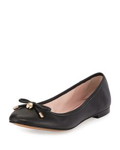 willa classic leather ballerina flat, black by kate spade new york at Neiman Marcus.
