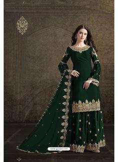 Dark Green Rangoli Georgette Designer Partywear Suit Frock For Women, Suits For Women, Anarkali Suits, Churidar Suits, Patiala, Salwar Kameez, Designer Salwar Suits, Designer Kurtis, Saree Look