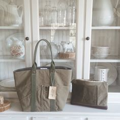 Tote and matching zipped pouch made from a reclaimed Boy Scouts of America canvas tent and WWII era US canvas and webbing, A Well Worn Story